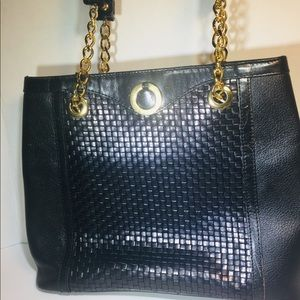 Bally Black Leather Woven Purse (Vintage)